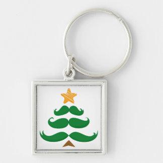 Green Mustache Tree Silver-Colored Square Keychain