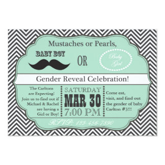 Green Mustaches or Pearls Gender Reveal Invites