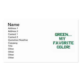 Green My Favorite Color T-shirts and Gifts Business Card