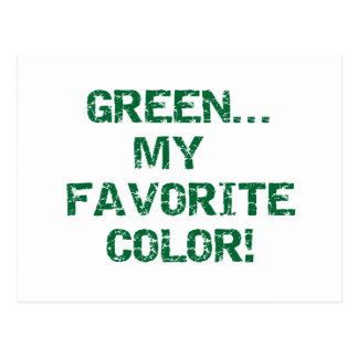 Green My Favorite Color T-shirts and Gifts Postcard
