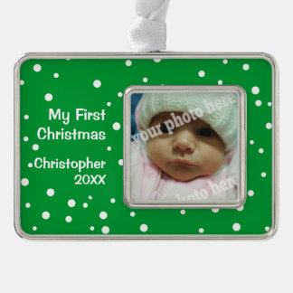 Green My First Christmas Custom Photo Ornament