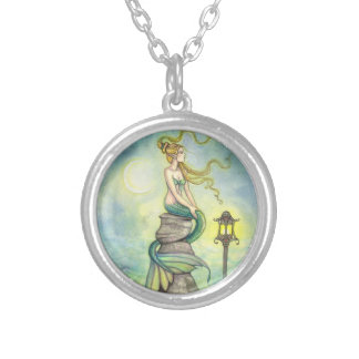 Green Mystical Mermaid Fantasy Art Silver Plated Necklace