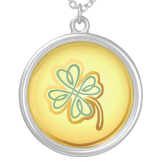 Green N Gold Shamrock2 -Necklace Round Pendant Necklace