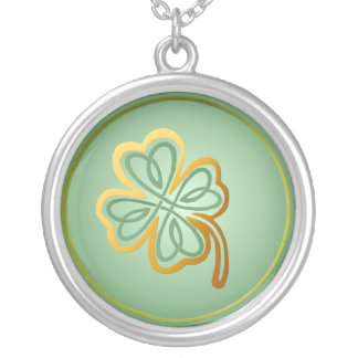 Green N Gold Shamrock -Necklace Round Pendant Necklace