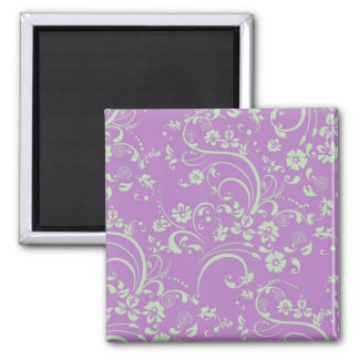 Green-n-Purple Floral Swirl 2 Inch Square Magnet