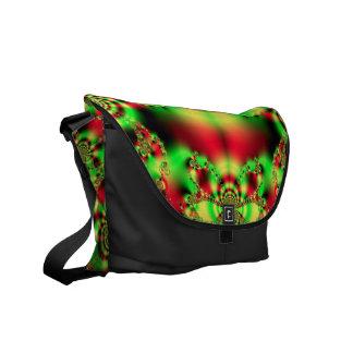 Green n Red Tartan Fractal Messenger Bag