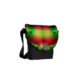 Green n Red Tartan Fractal Mini Messenger Bag