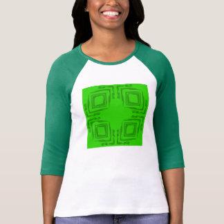 Green n White Ladies Three-Quarter Sleeve T-Shirt