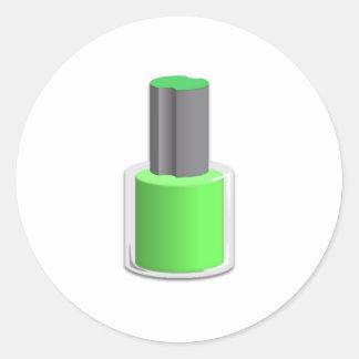 Green Nail Polish Round Sticker