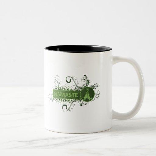 Green Namaste English Coffee Mugs