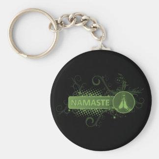 Green Namaste English Keychains