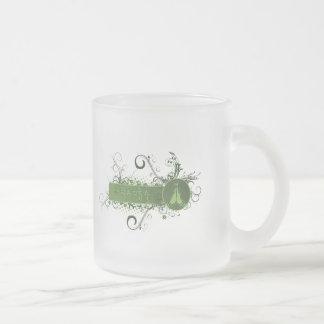 Green Namaste Tibetan Frosted Glass Coffee Mug