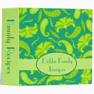 Green Name Personalized Paisley Album Notebook Binder