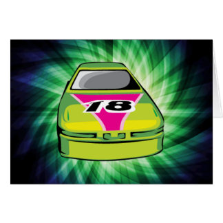 Green Nascar Greeting Cards