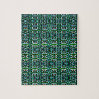 Green Native American Fabric Design. Aztec Pattern Jigsaw Puzzles