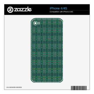 Green Native American Fabric Design. Aztec Pattern Decals For The iPhone 4S
