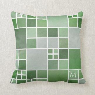 Green Nature Monogram Geometric Pattern Pillow