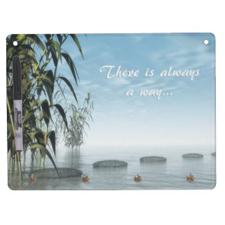 Green nature pebbles - 3D render Dry Erase Board With Keychain Holder