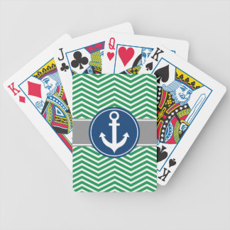 Green Nautical Anchor Chevron Bicycle Playing Cards
