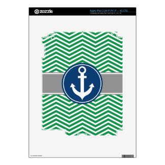 Green Nautical Anchor Chevron iPad 3 Decal