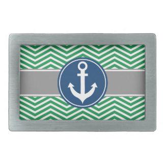 Green Nautical Anchor Chevron Rectangular Belt Buckle