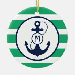 Green Nautical Anchor Monogram Ceramic Ornament