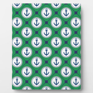 Green Nautical Anchor Pattern Plaques