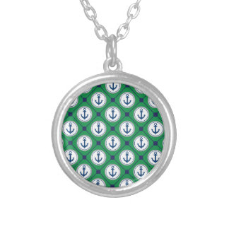 Green Nautical Anchor Pattern Round Pendant Necklace