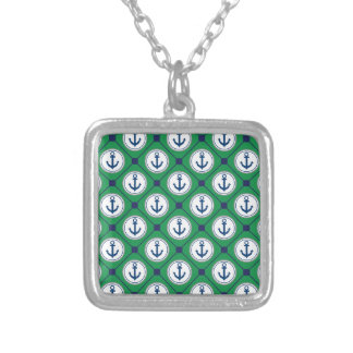 Green Nautical Anchor Pattern Square Pendant Necklace