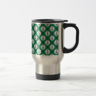 Green Nautical Anchor Pattern Travel Mug