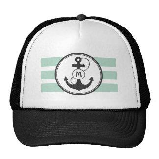 Green Nautical Monogram Trucker Hat