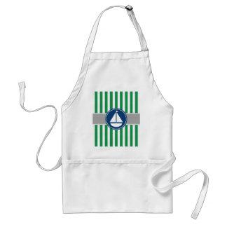 Green Nautical Sailboat Stripes Adult Apron