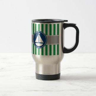 Green Nautical Sailboat Stripes Travel Mug