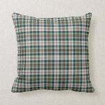 Green, Navy and Cream Plaid Square Pillow