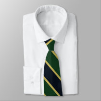 Green Navy and Gold University Stripe II Tie