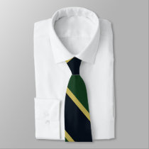 Green Navy and Gold University Stripe Tie