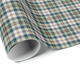 Green, Navy Blue, and Cream Plaid Gift Wrap
