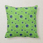 Green Navy Blue Circles Pattern Decorative Pillow