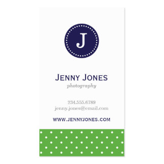 Green & Navy Blue Cute Polka Dots Monogram Business Card Templates