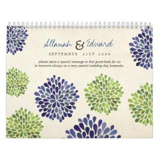 Green & Navy Blue Flowers Wedding Photo Guest Book Calendar