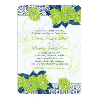 Green Navy Blue Vintage Floral Wedding Invitation