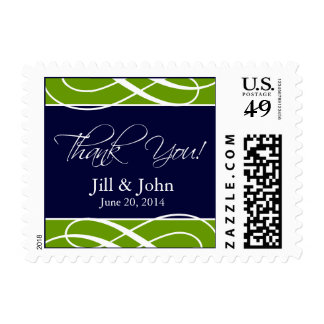 Green Navy Blue Wedding Thank You Postage Stamps