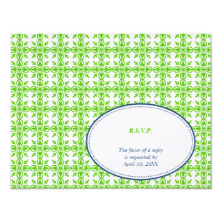 Green navy oval lace preppy wedding response RSVP Card