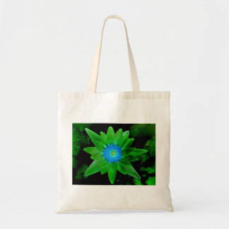 green neat water lily flower against green leaves budget tote bag