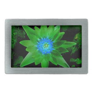 green neat water lily flower against green leaves rectangular belt buckles