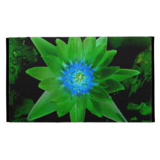 green neat water lily flower against green leaves iPad case