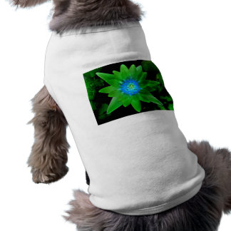 green neat water lily flower against green leaves pet shirt