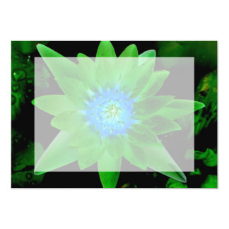 green neat water lily flower against green leaves 5x7 paper invitation card