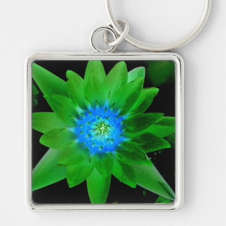 green neat water lily flower against green leaves Silver-Colored square keychain