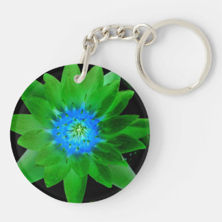 green neat water lily flower against green leaves Double-Sided round acrylic keychain